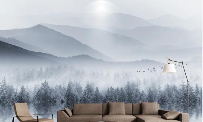 озеро и зимний лес