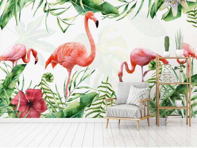 Фотообои Четыре алых фламинго