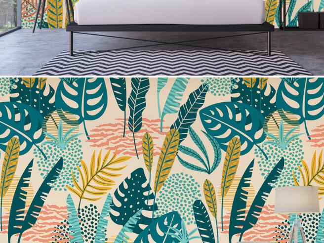 Фотообои Разноцветные тропические листья