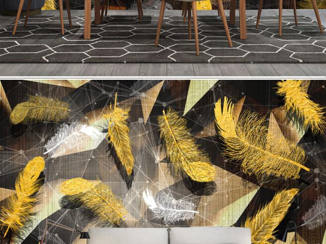 Фотообои Золотые листья и геометрия