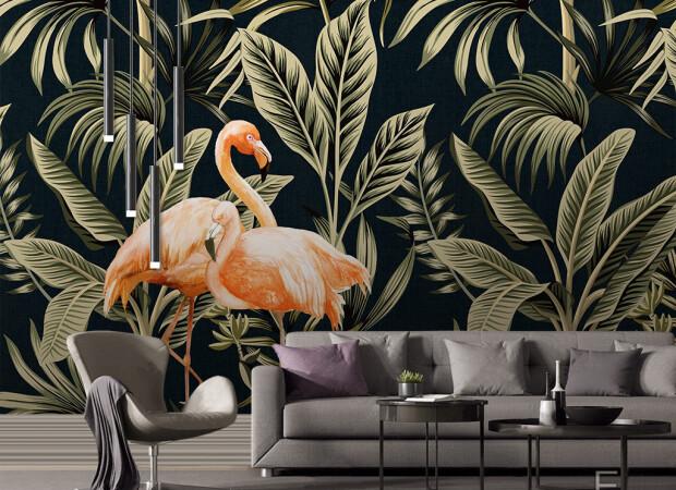 Фламинго и золотые листья