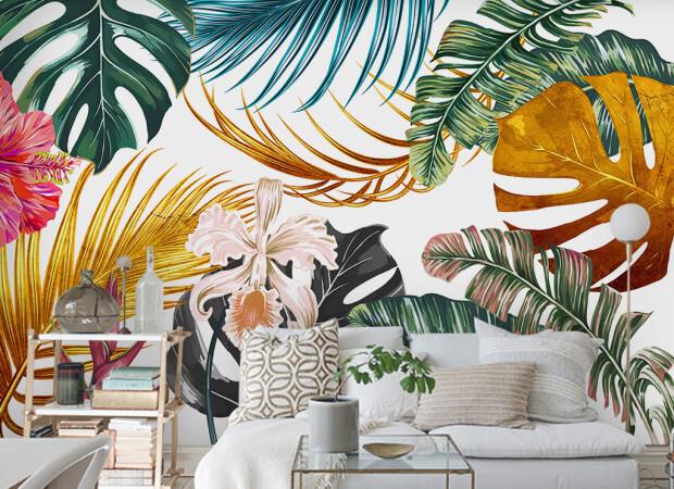Пестрые листья пальм