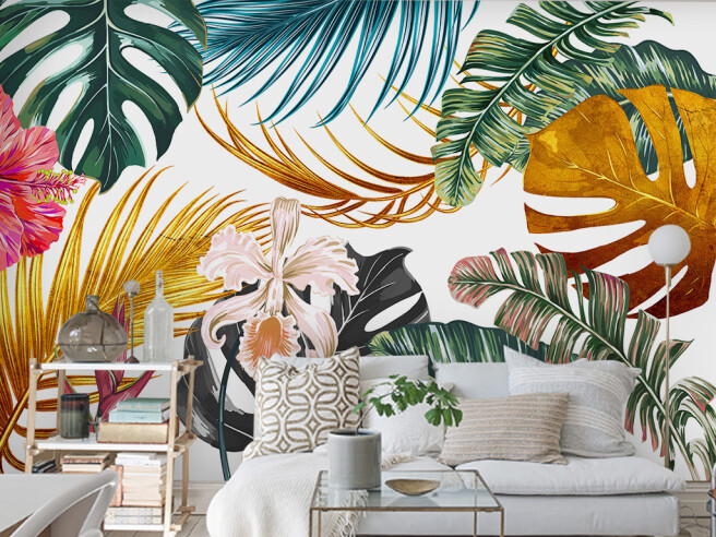 Фотообои Пестрые листья пальм