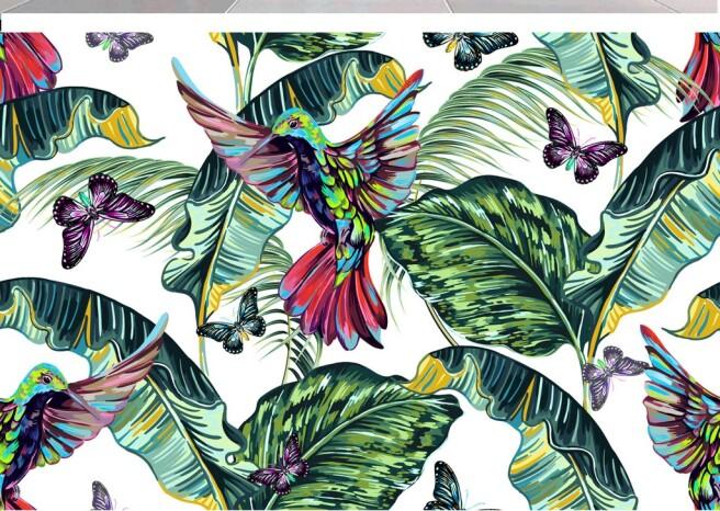 Фотообои Колибри и бабочки