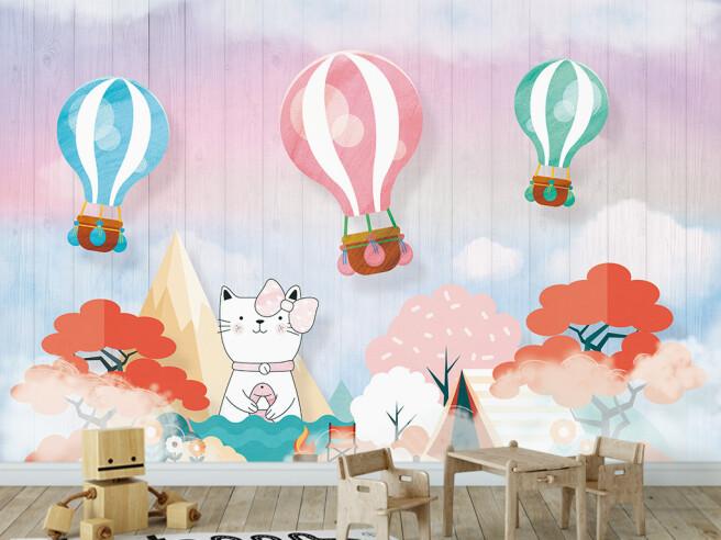 Кошка под воздушными шарами