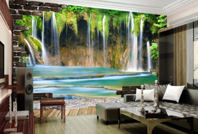 Фотообои водопад в стене