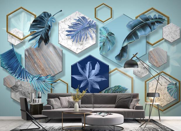 Синие листья в шестиугольниках
