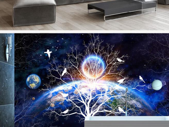 Белое дерево на фоне Земли