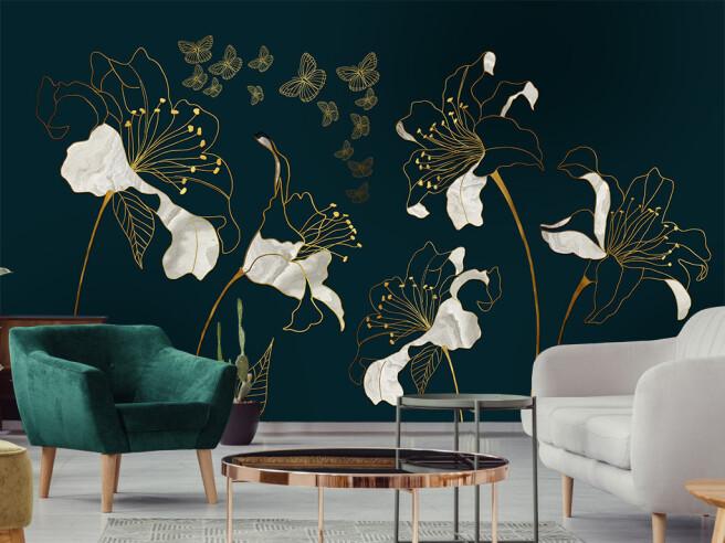 Фотообои Контуры золотых бабочек