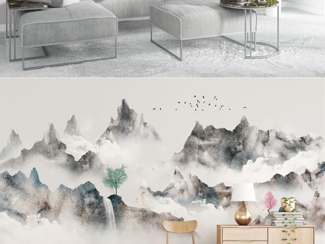 Горные хребты в тумане