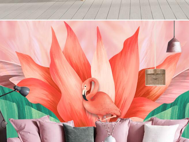 Фотообои Розовый фламинго и лилия