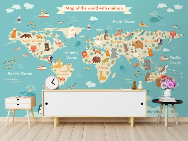Карта мира с животными