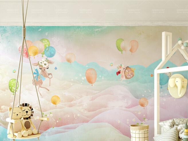 Фотообои Олененок на воздушных шариках