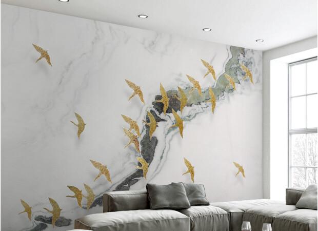 Золотые птицы над рекой