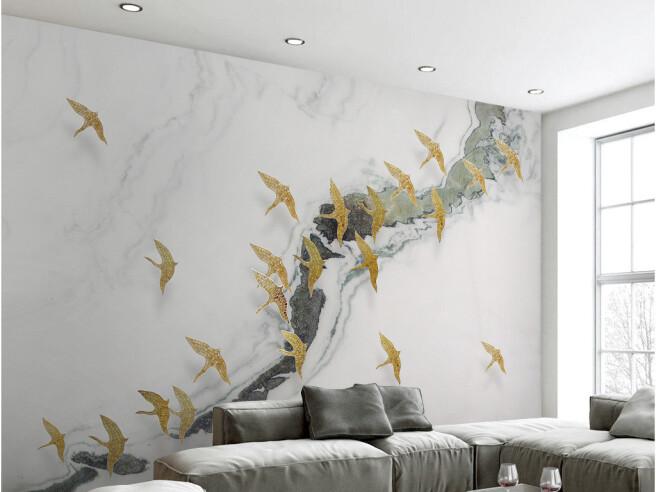 Фотообои Золотые птицы над рекой