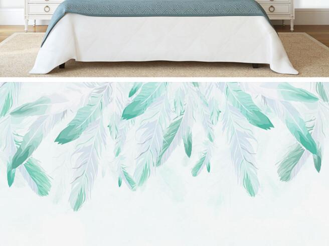 Фотообои Берюзовые перья на белой стене
