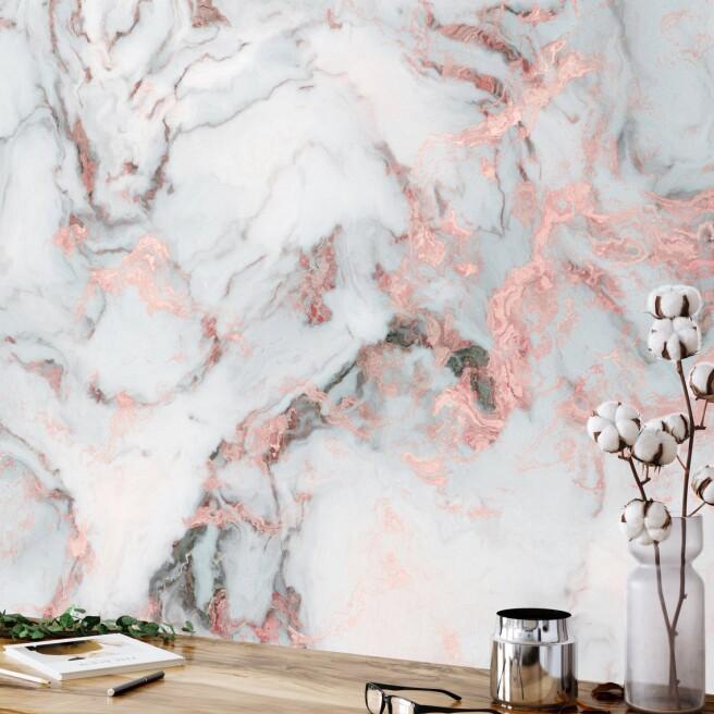 Фотообои розовые вкрапления в мрамор