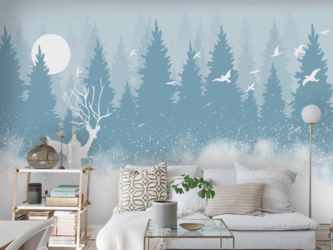 Фотообои Олень в зимнем лесу