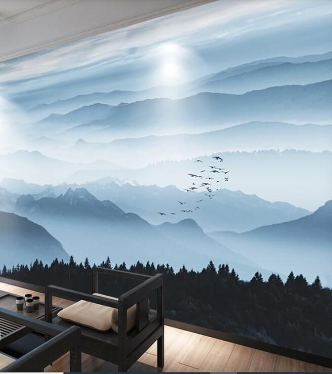 пики гор и стая птиц