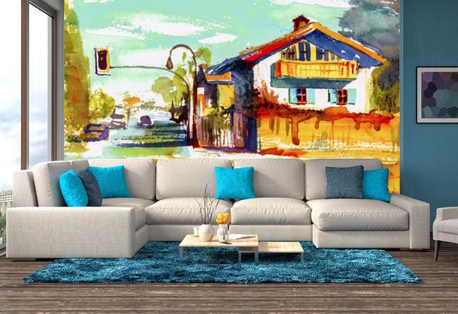 Фотообои домик красками