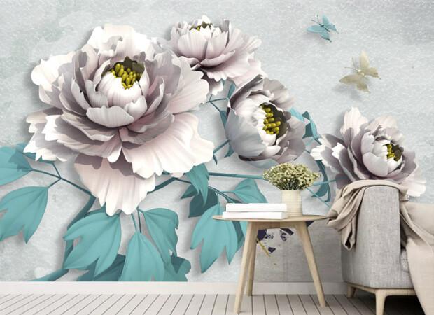 Белые цветы с голубыми листьями