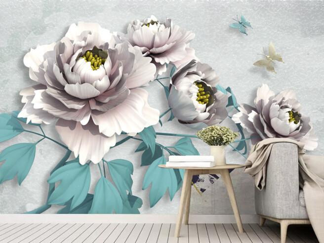 Фотообои Белые цветы с голубыми листьями