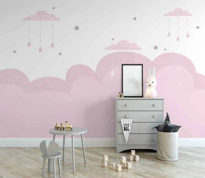 Фотообои розовые облачка и звездочки