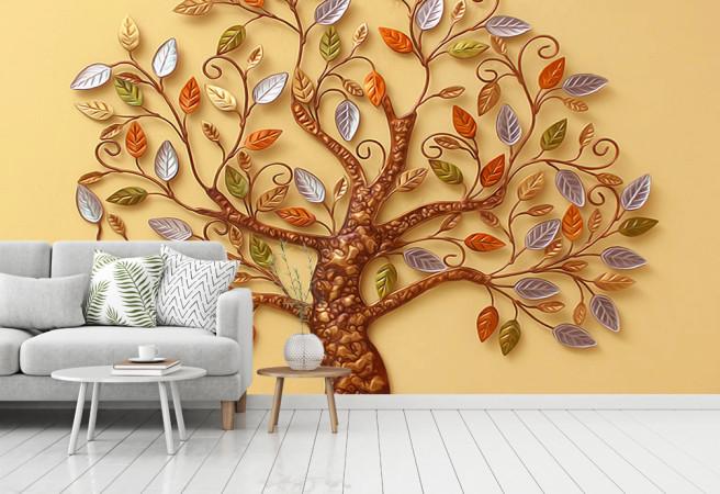 Фотообои дерево фреска в цвете