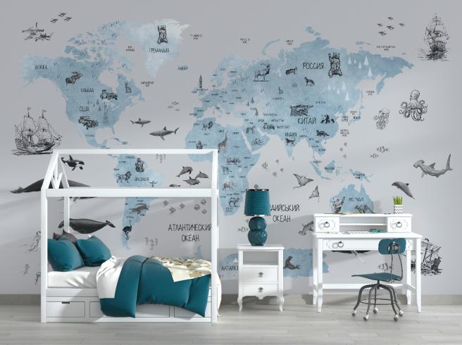 Фотообои карта в нежно-голубом на русском