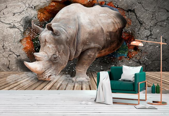 Фотообои носорог в стене
