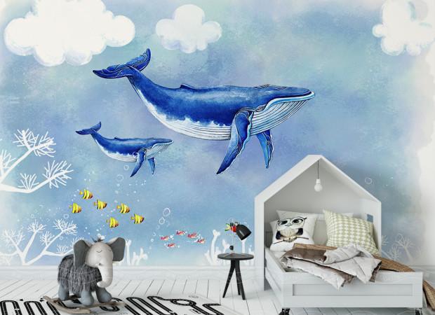 Два кита и желтые рыбки
