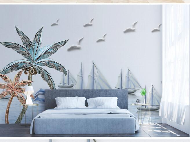 Фотообои Чайки над яхтами