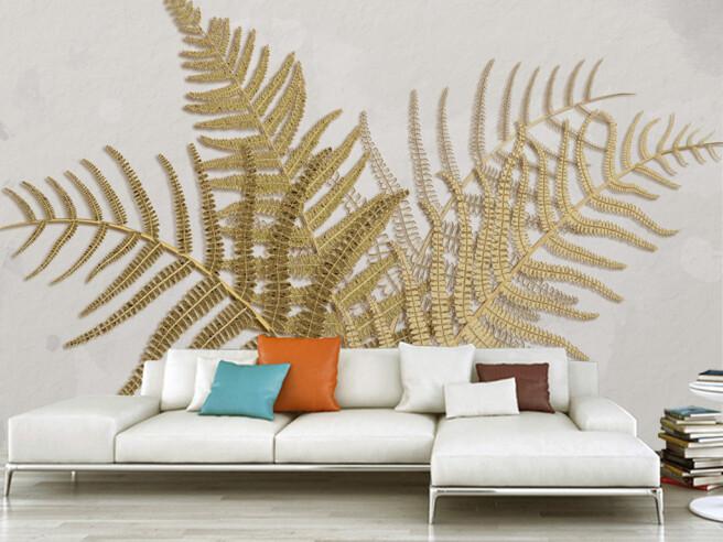 Фотообои Золотые листья папоротника на белой стене