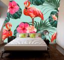 фламинго и цветы