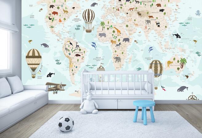 Фотообои карта с животными и шарами
