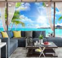 Фотообои тропический пляж за окном