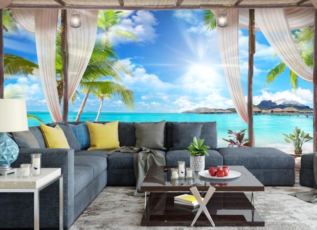тропический пляж за окном