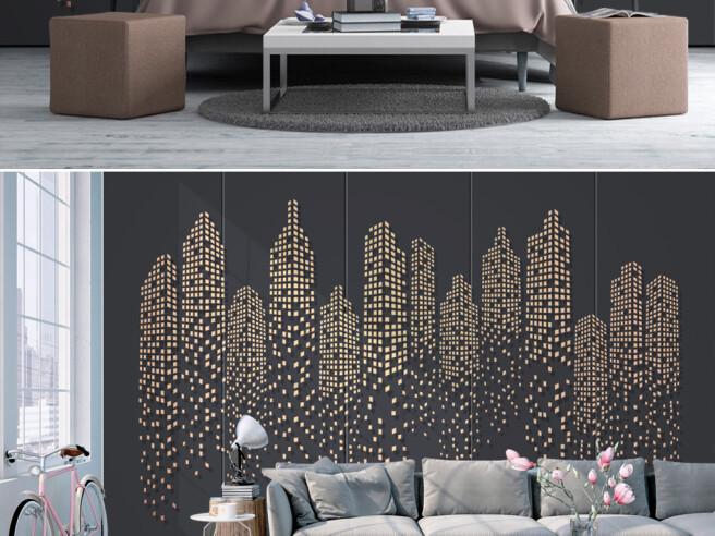 Фотообои Дома из золотых пикселей