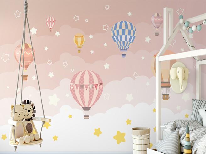 Воздушные шары в розовом небе