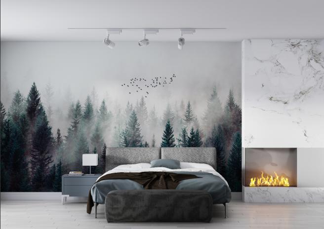 Фотообои уютный лес в дымке