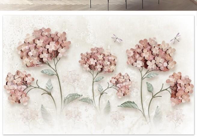 Фотообои Цветы и стрекозы