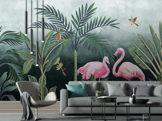 Фламинго в вечерних тропиках
