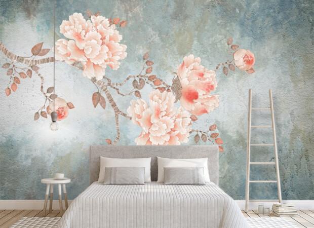 Розовая ветка с цветами