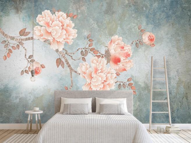 Фотообои Розовая ветка с цветами