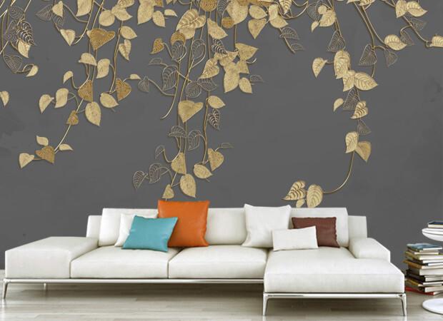 Золотые листья на темном фоне