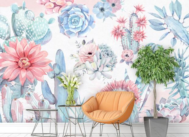 Розово-голубые кактусы