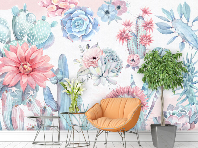 Фотообои Розово-голубые кактусы
