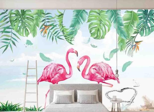 Фламинго под монстерой