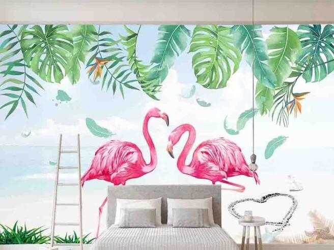 Фотообои Фламинго под монстерой