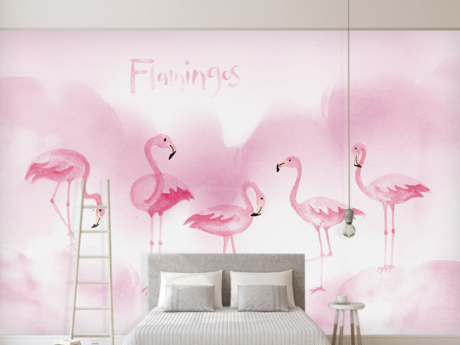 Пять розовых фламинго